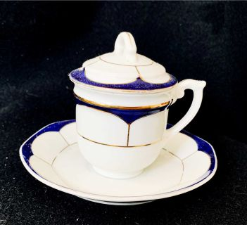 Vintage Bone China Covered Covered Coffee Cup