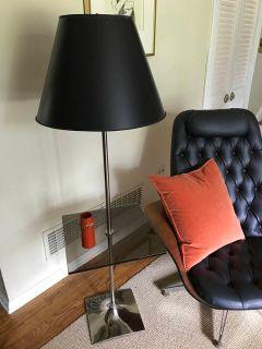 Mid Century Smoked Glass Floor Lamp, Laurel La...