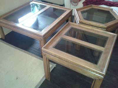$50, Coffee table and end tables