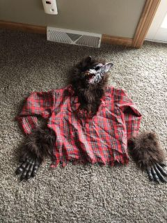 12-14 werewolf costume comes with mask,shirt and gloves