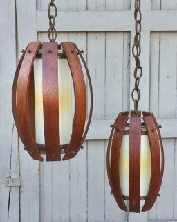 Mid century teak swag lamp