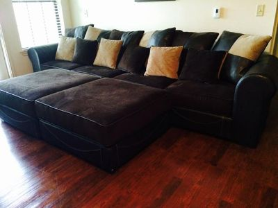 $950, Pristine Condition HUGE Leather  Corduroy Adjustable Couch  Ottomans with Pillows