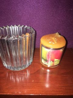 Peach mango votive candle and glass holder