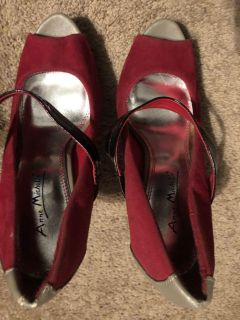 Anne Michael s Red/Tan High Heeled Shoes