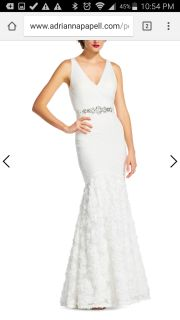Adrianna Papell White Formal Gown Size 10