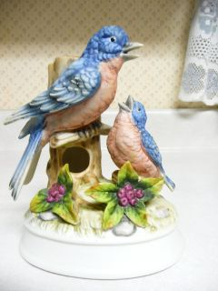 "Vintage Musical 6"" Blue Bird & Baby Bird"