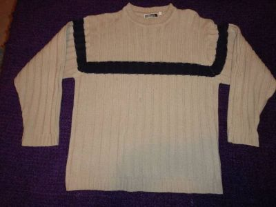 Beige knit sweater with blue stripe, size M
