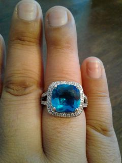 New blue topaz & white sapphire ring .925 sterling silver (