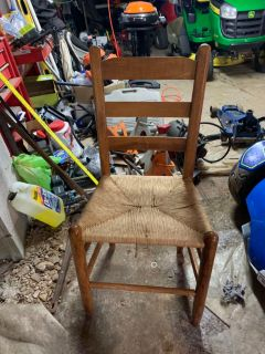 Chair with wicker type seat