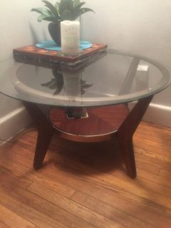TABLE Round Glass,Wood,Brass