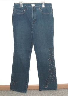 Womens 16 Coldwater Creek Studded Boot Cut Denim Jeans Womens 16 Stretch 16w