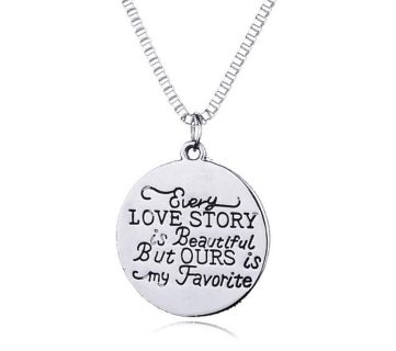 Brand New Womens Hand Stamped Our Love Story Is My Favorite Necklace