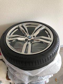 $4,000, 4 brand new chrome bmw 20 inch rims with pirelli pzero run flats and bmw tire pressure monitors.