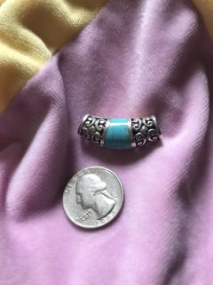 Silver pendant slide with turquoise stone very pretty