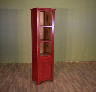 Rustic Solid Wood Narrow Bookcase / Multi Purp...