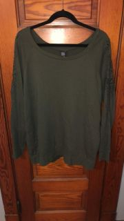 Torrid Olive Green Embroidered Sleeve Crew Neck