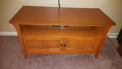 Tv stand wood with key locking cabinet comes with 1 key