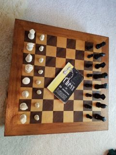 Wooden board Chess Set with 1955 Chess Book
