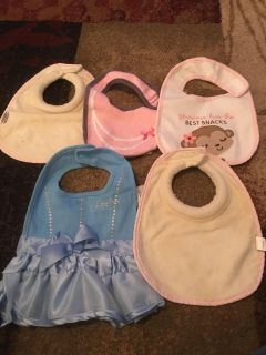 Lot of 5 girls bibs - ppu (near old chemstrand & 29) or PU @ the Marcus Pointe Thrift Store (on W st)