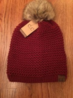C.C ADJUSTABLE BEANIE FAUX FUR - BURGUNDY - ONLY ONE THIS COLOR THIS PRICE - THEY ARE NO LONGER ON SALE FOR THIS PRICE