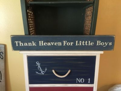 Thank Heaven For Little Boys Wooden Sign