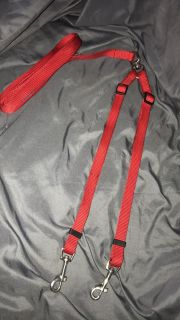 Red Double dog leash