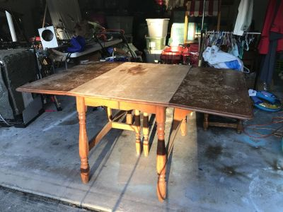Project antique drop side solid wood dining table