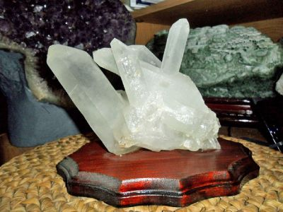 Exceptional and Beautiful Large Chinese Tibet Crystal Points Cluster on Wooden Base