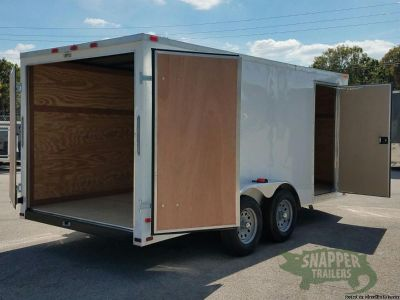 New 7x16 ft. Cargo Trailer, Sharp looking White EXTERIOR with Extra 3 in. Height
