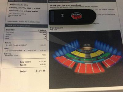 2 American Idol Tickets-Dallas