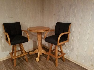 Pool Table Side Table and Chairs