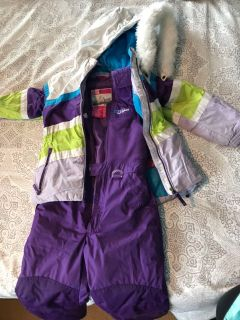 Girls snow bibs and coat size 6