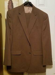 $125 CHAPS RALPH LAUREN 2PC Lt Brown Suit Size 44L Pants 36W/32L 100% Wool