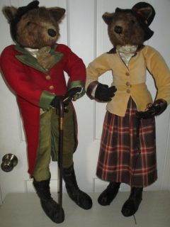 Vintage Pair 30 inch Standing Foxes Dolls
