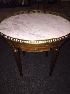 Antique French brass round marble top table