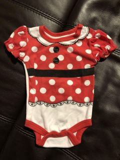 Disney Baby Minnie Mouse Adorable Onesie Playsuit. Minnie Mouse is on the back. Size Newborn