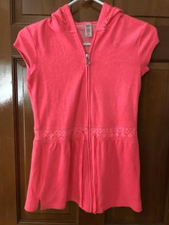 Girls size 10 Justice hot pink terry cloth swim cover up