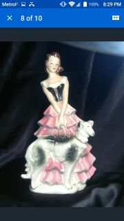 """Vintage Collectible Goebel Figurine Girl With Borzoi Russian Wolfhound FF 275 Germany 8 1/4"""""""