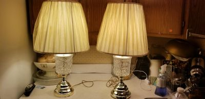 Pair Glass Lamps - Good Condition - Missing 1 Attachment for Shade - Some Blemish on Base
