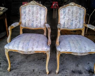 Pair of vintage Italian Hollywood Regency carved wood Low Boudoir multi colored chairs from 1960's in great condition.