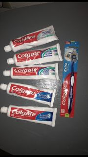 Toothpaste and toothbrush lot.