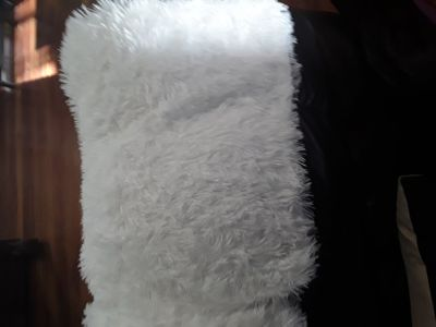 2 White fur 18 inch throw pillow covers