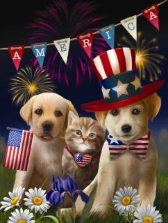 Yankee Doodle and Dandy Patriotic Puppy & Kitty 300 piece SunsOut Jigsaw Puzzle Brand New in Box