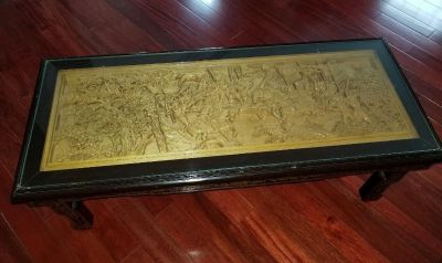 CHINESE GLASS TOP RECTANGULAR LOW STYLE COFFEE TABLE WITH WOOD CARVING RELIEF & COLLAPSIBLE LEGS