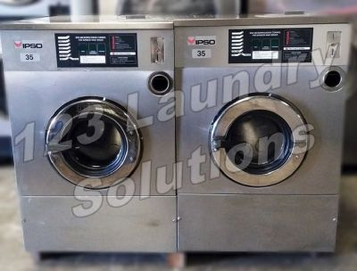 Coin Operated Ipso Stainless Steel, Front Load Washer 35lbs 1Ph 240v 60Hz Used