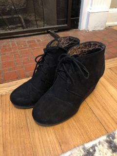 Black Lace-Up Wedge Booties