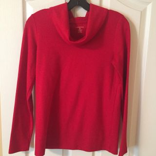 Lands End red cowl neck top size XS
