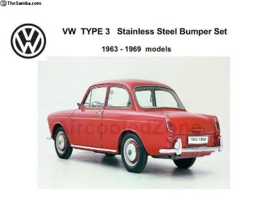 1963-1969 VW Type 3 Stainless Steel bumper SET