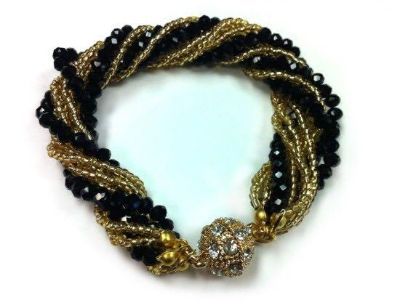 Black and Gold Crystal Bead Magnet Ball Bracket