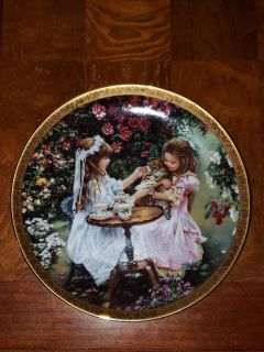 Bradford Exchange Plate Tea for Three 1st Issue in the Enchanted Gardens 1997